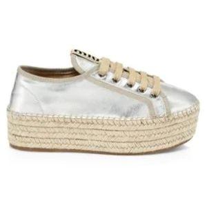 Miu Miu espadrille sneakers in silver.